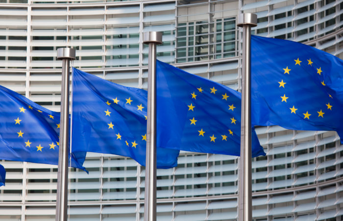 EU flags waving in the wind