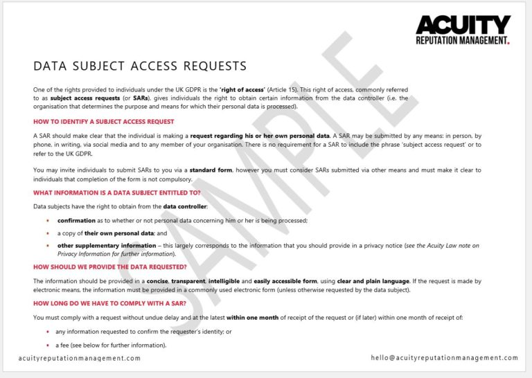 Data Subject Access Requests sample document