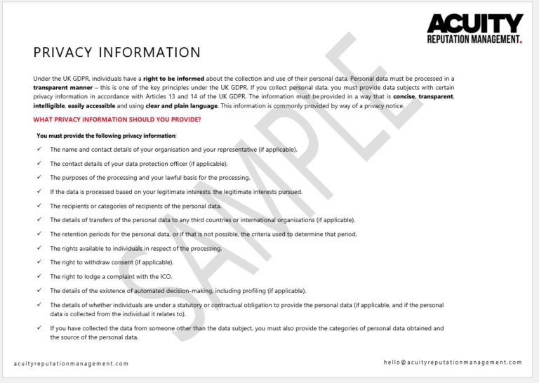 Privacy Information sample document