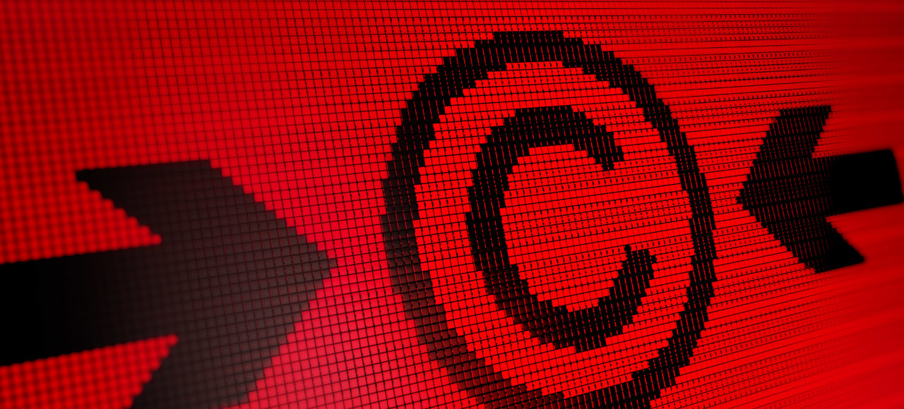Red Copyright on digital background
